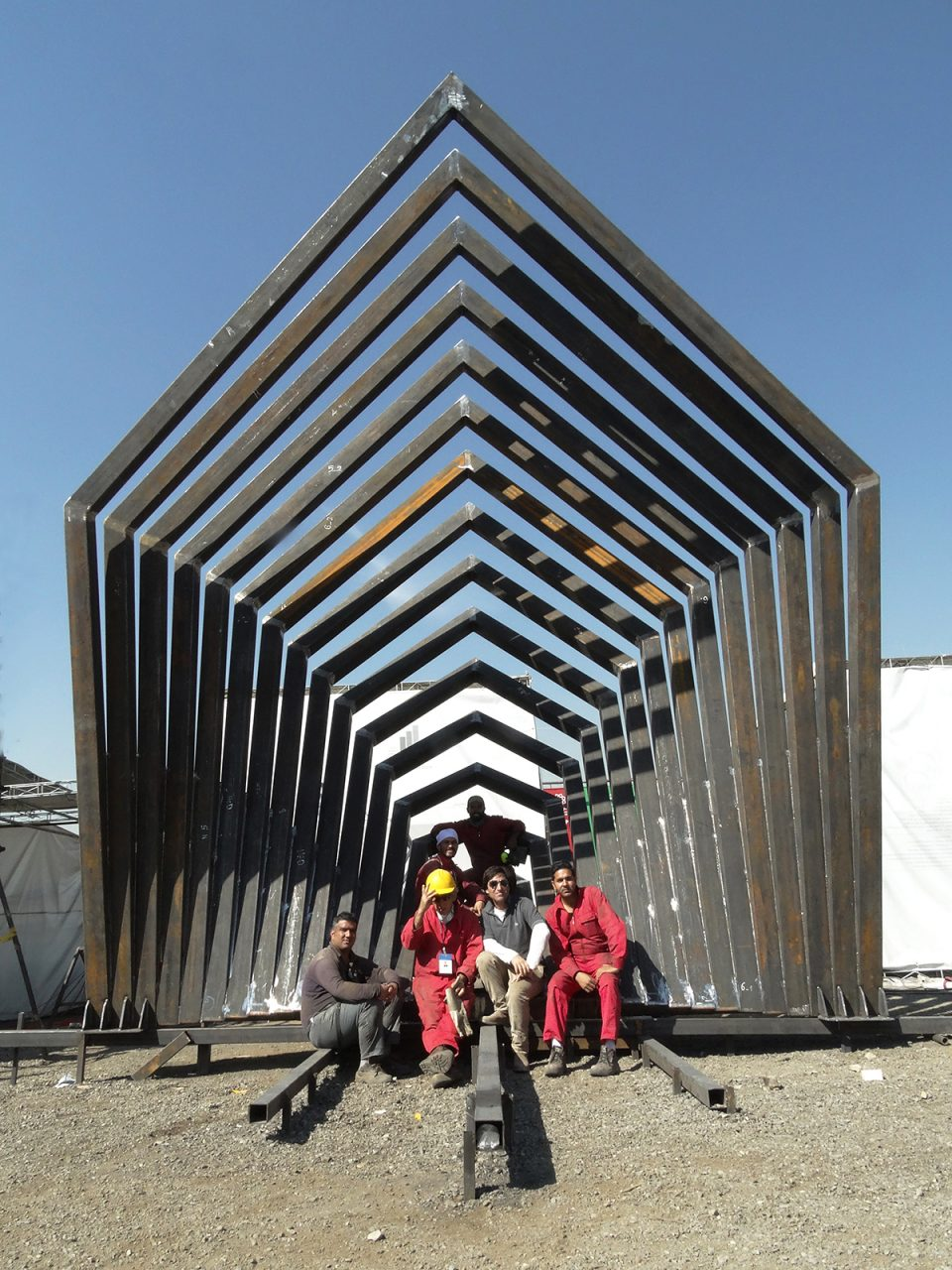 """CUBIC#51020161"", 2015, 640 x 400 x 544 cm, Steel, Tehran, Iran, Thierry Ferreira , arte, art, escultura, Sculpture, arquitetura, architecture, arte contemporanea, contemporary art, projecto, projet, project"