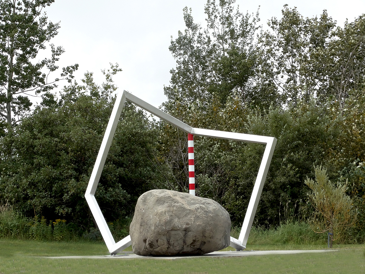 CUBICindustrie#61028021 2016 Aluminum and rock 260 x 300 x 270 cm Sept-Îles, Quebec, Canada, drawing, Project, sculpture, model, public sculpture, public art, architecture, contemporary art, art, Thierry Ferreira, design, installation, sitespecific, photography, video, Landart
